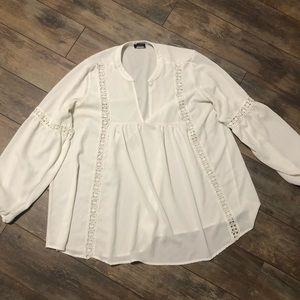 Torrid White Bell Sleeve Crochet Trim Blouse